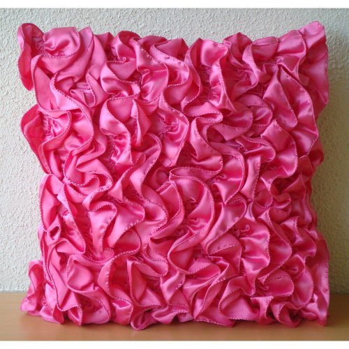 Vintage Fuchsia - 16X16 Inches Square Decorative Throw Fuchsia Pink Satin Pillow Covers With Satin Ruffles front-894747
