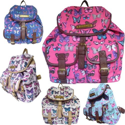 New LYDC Anna Smith Butterfly Print Retro Vintage Rucksack Ladies Backpack