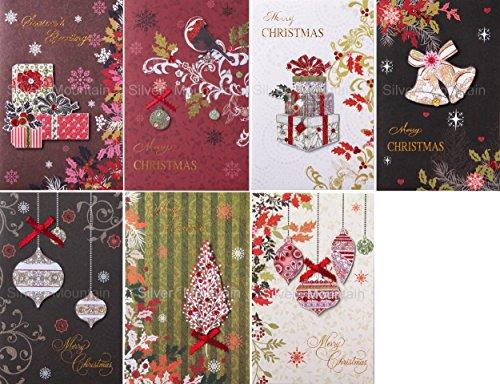 クリスマスカードセット(7枚組、2つ折り、中紙・封筒付き) Christmas card set No.XCS-372