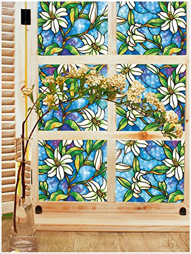 Yanqiao 17.739.4inch Static Clings Orchid Privacy European Art Painting Cellophane Window Film for Home Bedroom Barthroom Kitchen (Stained Glass French Doors compare prices)