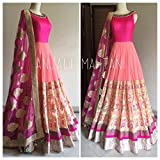 now at wow Womens Net and Georgette Anarkali Suit Dress Material _ Pink