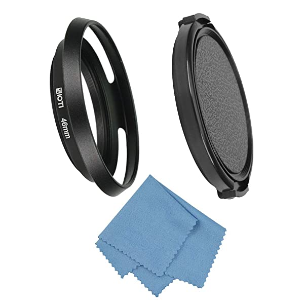 SIOTI Filmy Wide Angle Vented Metal Lens Hood with Cleaning Cloth and Lens Cap Compatible with Leica/Fuji/Nikon/Canon/Samsung Standard Thread Lens (Color: Wide Angle Vented, Tamaño: 46mm)