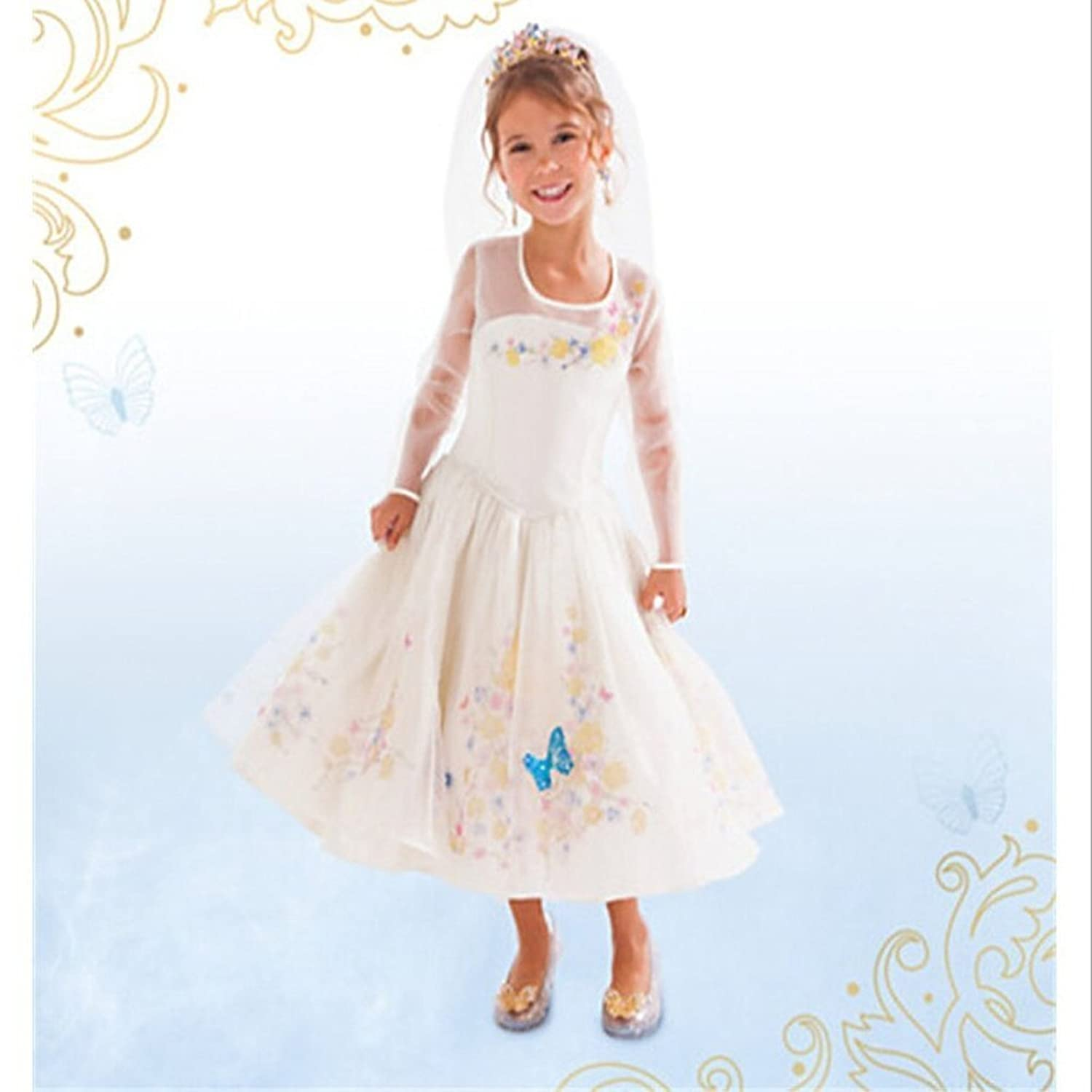 Eyekepper Cinderella dress white Ella 's wedding dress costume cosplay girl женское платье eyekepper crewneck dx8090