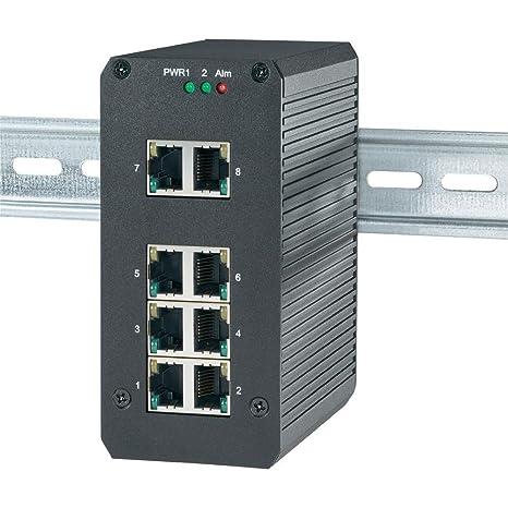 Switch réseau RJ45 Pour rails DIN 8 ports 1 Gbit/s