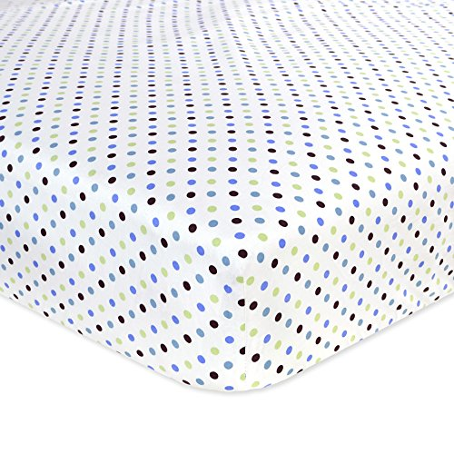 Carter's Cotton Fitted Crib Sheet, Blue/Green Dots