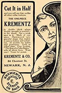 1911 Ad Collar Button Krementz Company Shank One Piece - Original Print Ad