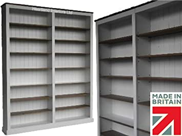100% Solid Wood Bookcase; 8ft Tall Painted & Waxed Contrasting Library Display Bookshelves with Adjustable Shelving (BK867-P)