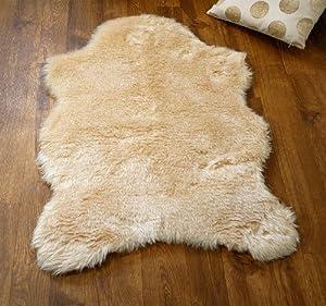 Beige faux fur single sheepskin style rug 70 x 100 cm washable
