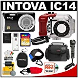 Intova IC14 Sports Digital Camera with 180' Waterproof Housing (Black) with 16GB SD Card + Intova Compact Torch + Handstrap + (2) Cases + Accessory Kit