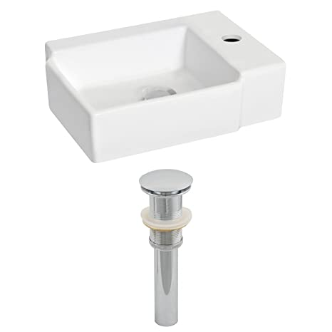 "Jade Bath JB-14842 16.25"" W x 12"" D Rectangle Vessel Set and Drain, White"