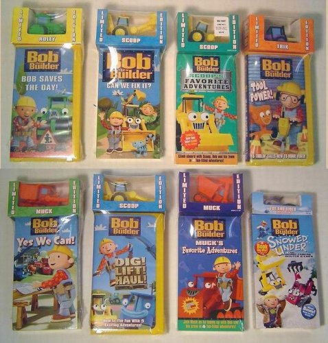 Bob the Builder 8 Pc Set of Videos with Vehicle Truck Toys