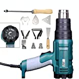 Heat Gun Variable Temperature, Hot Air Gun 122°F - 1112°F with 5 Nozzle Attachments for Stripping Paint, Shrinking PVC/Wrap, Cell Phone Repairs (1500W (LCD Display)) (Color: 1500W (LCD Display))