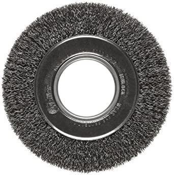 "Weiler Trulock Medium Face Wire Wheel Brush, Round Hole, Steel, Crimped Wire, 6"" Diameter, 0.014"" Wire Diameter, 2"" Arbor, 1-1/8"" Bristle Length, 1"" Brush Face Width, 6000 rpm"