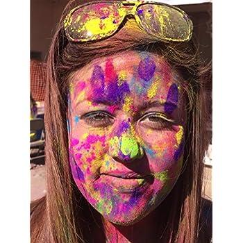 Holi UV Glow (Ultra Violet) Color Powder 12 Pack 70 Grams White,Yellow,Orange,Blue,Green,Pink
