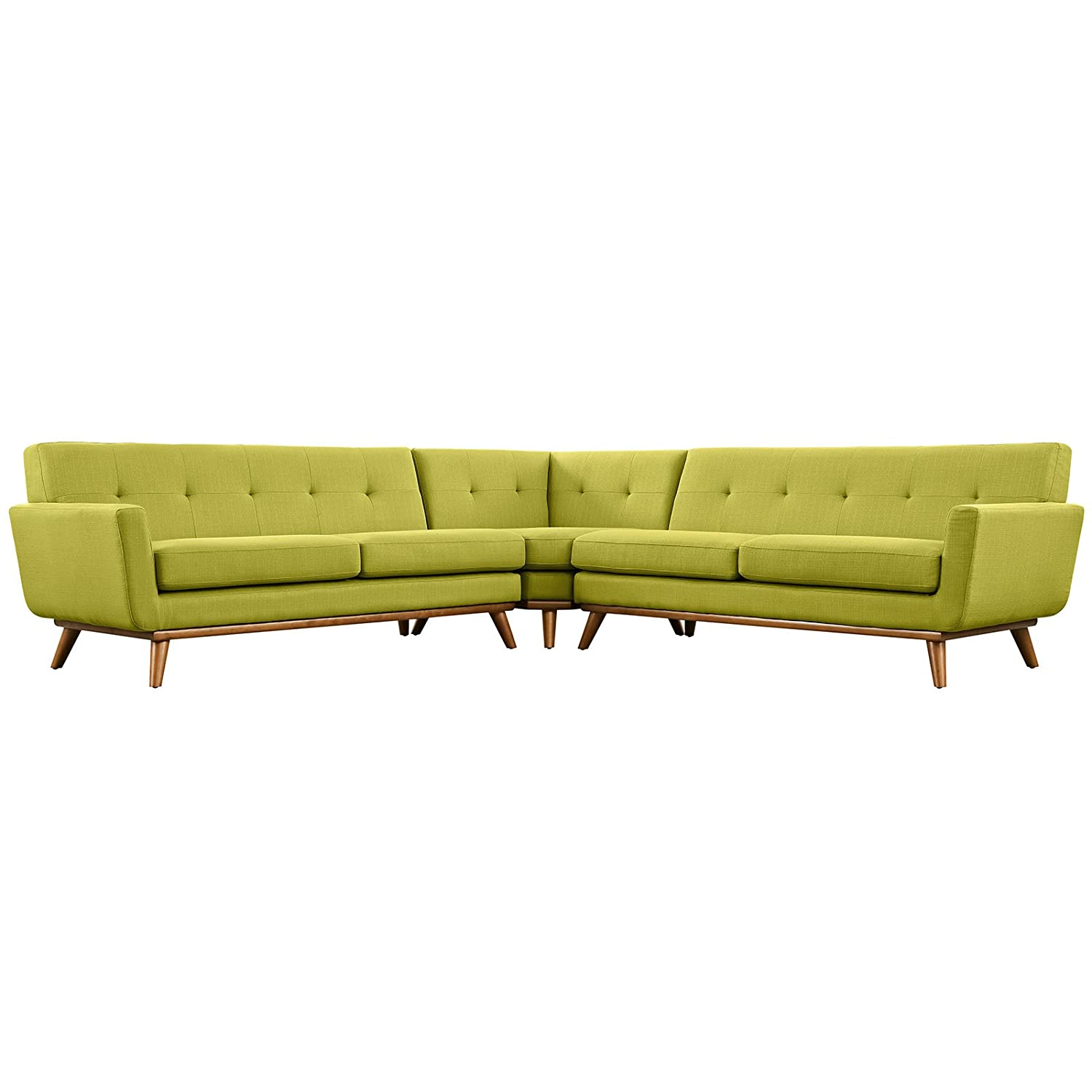 Modern Contemporary L-Shaped Sectional Sofa - Green - Fabric