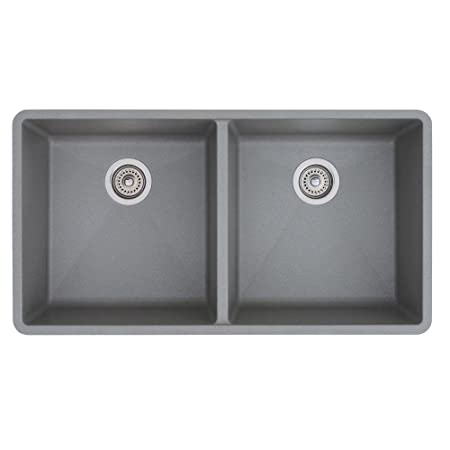 Blanco 516319 Precis 16-Inch Equal Double Bowl Sink, Metallic Gray
