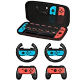 Accessories Kit for Nintendo Switch Games Starter, 2X Steering Wheel, 2X Grip Kit, 1x Travel Carry Case(5 in 1 Black) (Color: (5 in 1) Black)