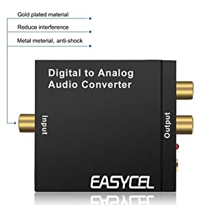 Easycel Digital to Analog Audio Converter DAC, Digital SPDIF Toslink Coaxial to Analog Stereo L/R Converter with Optical Cable and Power Adapter for PS3 PS4 Xbox DVD Apple TV Roku Player