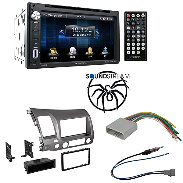 Soundstream Double Din VR-651B DVD/CD/MP3 Player 6.5 LCD Display Bluetooth Car Radio Stereo Single Double Din Taupe Dash Kit for 2006-2011 Honda Civic