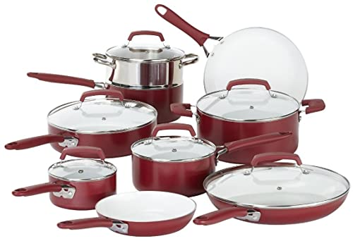 WearEver C943SF Nonstick Ceramic Cookware set, 15-Piece, Red