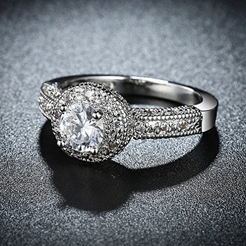 FENDINA Womens Wedding Engagement Ring Classic Solitaire Enternity Love Promise Rings for Her Anniversary Gift Bands - 18K White Gold Plated & CZ Crystal - FAR112