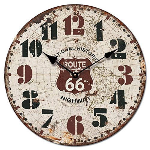 OROLOGIO DA PARETE DESIGN ROUTE 66 HIGHWAY 30 cm RETONDO NOSTALGIA - Tinas Collection