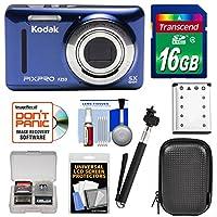 Kodak PixPro Friendly Zoom FZ53 Digital Camera (Blue) with 16GB Card + Battery + Case + Selfie Stick + Kit