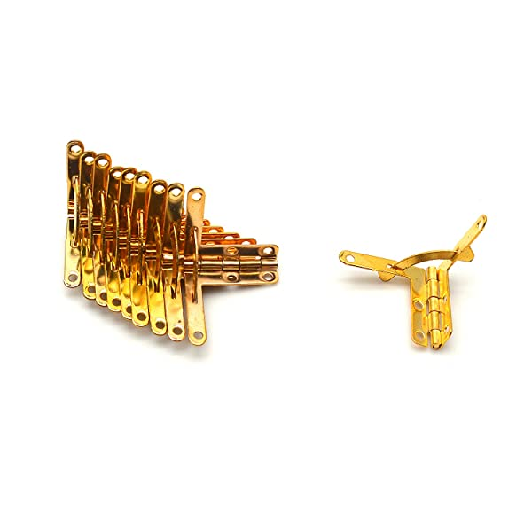 Karcy Hinge Aircraft Shape Box Hinges Jewelry Box Hinge Set of 12 Gold with Mounting Screws 1-1/6x1-2/7 Iron (Color: Gold, Tamaño: 30x33mm/1-1/6x1-2/7)