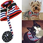 Bro'Bear Adorable Soft Velcro Cat/Dog Safety Walking Mesh Sailor Vest Harness + Matching Lead Leash Set(Can Be Pet & Kitty & Puppy Car Vehicle Seat Harness/Halloween Classics Collection Costume/Photo Apparel/Holiday Wear/Clothes Party Coat) (X-Small(1#))
