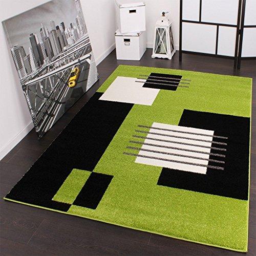 Moderner Velours Designer Teppich 160 x 220 cm Karo in Grün Schwarz Weiss
