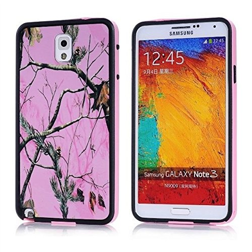 Tech Express (Tm) Tuff Real Camo Tree Hybrid Glossy Slim Durable And Flexible Tpu + Polycarbonate Bumper Frame Cover Case For Samsung Galaxy Note 3 Iii N9000 (Pink Branch)