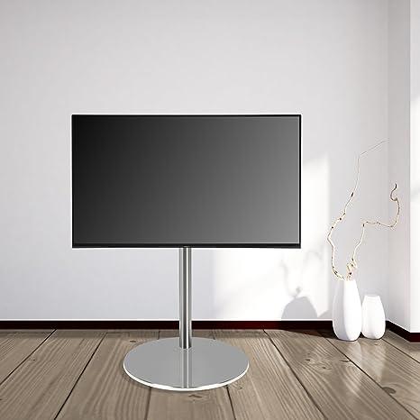 """DESIGN TV STÄNDER by Cavus - Ø 37cm Standfuß Rund, Edelstahl, 100 cm Saule , Edelstahl - Geeignet fur max. VESA 200x200 19""""- 32"""""""