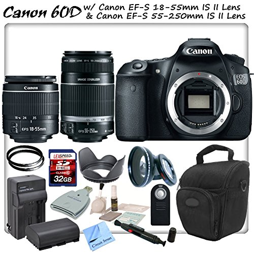 Canon Eos 60D Digital Slr With Canon Ef-S 18-55Mm F/3.5-5.6 Is Ii Lens & Canon Ef-S 55-250Mm F/4.0-5.6 Is Ii Lens & Cs Sports Package: Includes High Definition Wide Angle/Macro Lens, 2 Uv Filters, High Speed 32Gb Sdhc Memory Card, Sd Card Reader, Holster