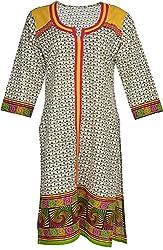 Artisan Women's Cotton Straight Kurta (CZF10007_XL, White, XL)