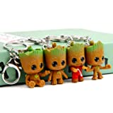 sunliveus Cute Baby Groot Keychain 4 Pack Anime Guardians of the Galaxy Q Version Treant Grote Miniature Key Chain Groot Pendant Key Ring Holder Best Toy Gifts for Women Couple Children Festival (Color: Multicolor, Tamaño: 1.38'' x 1.18'' x 1.97'')