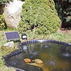 Solar Pumpe Springbrunnen NKASP2 Solarpumpe mit Akku und LED Teichpumpe by CLGarden