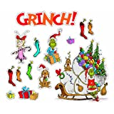 Dr. Seuss(TM) The Grinch(TM) Bulletin Board Set - Includes a Set of Four 17'' by 24'' Panels and 30 Stocking Cut-Outs