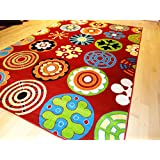 Soft Children Rug Modern 7x10 Rug Red Kids Rug 7'x10' Playroom Area Rug Child Room kids rugs Carpet (Large 7x10)