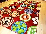 Soft Children Rug Modern 7x10 Rug Red Kids Rug 4x6 Playroom Area Rug Child Room Carpet (Large 7x10)