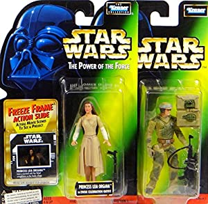 Princess Leia Organa & Endor Rebel Soldier Figuren Set - Star Wars Power of the Force Collection von Hasbro / Kenner