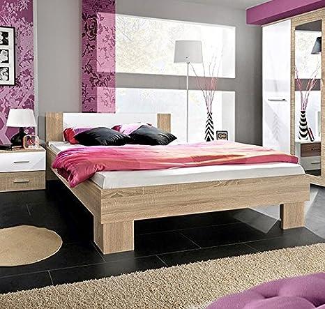 Muebles Bonitos - Cama de matrimonio Barasi en color sonoma y blanco 140x200cm