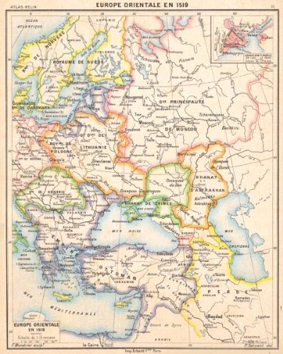 EUROPE: Europe Orientale en 1519; Inset map of Istanbul Constantinople, 1900