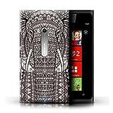 Kobalt Elefante Nero Bianco stampato Custodia Cover per Nokia Lumia 900 cellulari telefoni / Collezione Aztec...