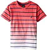 Nautica Boys 8-20 Classic Striped Tee, Brt Orange, Medium