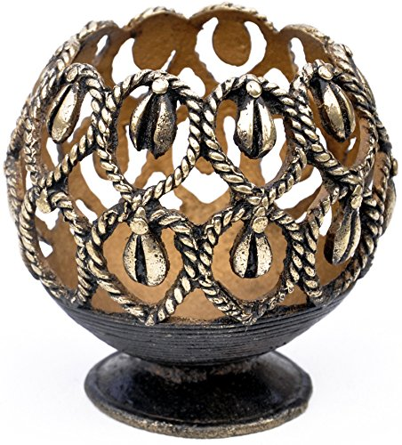 SouvNear Handmade Candle Stand Lantern / Tealight Holder in Bronze Metal – Dhokra Art – Unique Housewarming Gifts and Handmade Tribal Decor Gifts from India