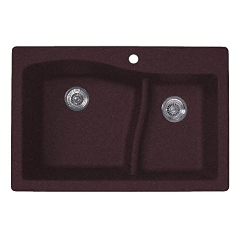 Large/Small Dual Mount Drop-in Granite 33x22x9.75 1-Hole Double Bowl Kitchen Sink in Espresso
