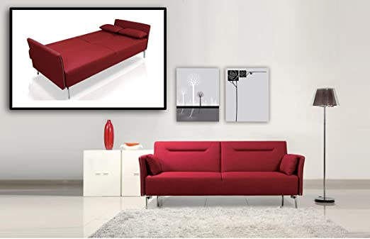 Davenport Modern Red Fabric Single Sofa Bed