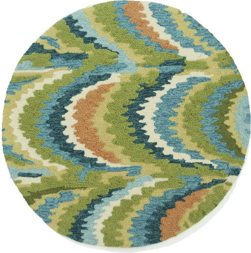 Loloi Rugs OLVAHOL01GRBB300R Olivia Collection Hand-made 100-Percent Polyester Round Area Rug, 3-Feet by 3-Feet, Green/Blue