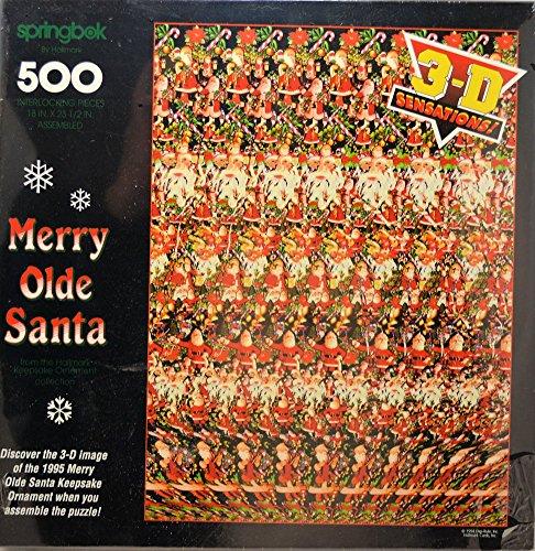 "Merry Olde Santa 500-piece 3D Stereogram Puzzle (18"" x 23.5"")"