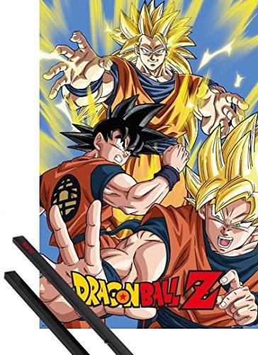 Poster + Sospensione : Dragonball Z Poster Stampa (91x61 cm) Goku e Coppia di barre porta poster nere 1art1®